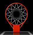 Basketball hoop on black vector image
