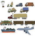 Sketches of cargo delivery vector image
