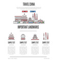 china travel infographics in linear style vector image