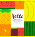 fruit poster collection summer fruit flat vector image