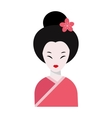 Japanese woman folk-art maiden cute kokeshi vector image