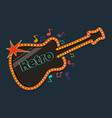 retro guitar with music notes vector image