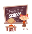 Schoolgirl answer lesson near school desk vector image