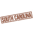 South Carolina brown square stamp vector image