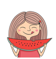 Happy girl eats sweet watermelon vector image vector image