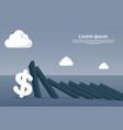chart bar falling on dollar sign economic fail vector image