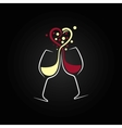 red and white wine love concept design background vector image