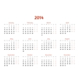 2014 Year calendar Flat style design vector image