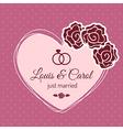 Vintage Just Married Wedding Card vector image
