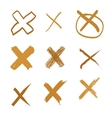 Set of hand-drawn cross doodle gold vector image