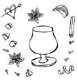 Cognac or brandy balloon sketch hand drawn vector image