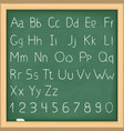 Hand drawn alphabet on blackboard vector image