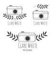 Hand drawn logo for photographer with camera vector image