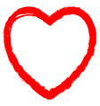 red heart contour sketch brush stroke vector image