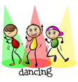 Three men dancing vector image