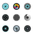 camera aperture icons set flat style vector image vector image
