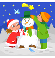 children playing with snowman vector image