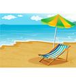 A seashore with a bench and an umbrella vector image