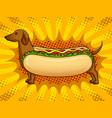 hot dog funny metaphor pop art vector image