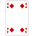 Poker playing card 4 diamond vector image