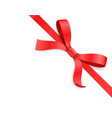 red color satin bow knot and ribbon isolated on vector image