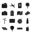 Rest and travel set icons in black style Big vector image