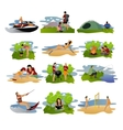 set of summer recreation concept design vector image