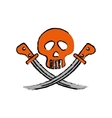 skull with swords vector image