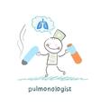 pulmonologist spoils cigarette vector image vector image