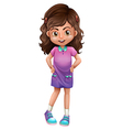 A cute schoolgirl vector image