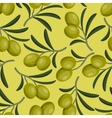 Seamless pattern with fresh ripe olive branches vector image