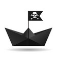 black paper boat with a pirate flag white vector image