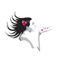 Girl blowing kiss vector image