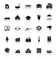 Hospitality business icons with reflect on white vector image