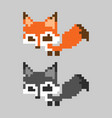 orange cute pixelated fox mammal set vector image