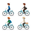 set of man riding bicycle with different actions vector image