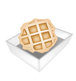Baked Round Waffles in White Paper Box vector image