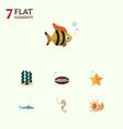 flat icon sea set of alga hippocampus sea star vector image