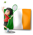 A boy playing tennis in front of the Ireland flag vector image