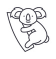 cute koala line icon sign on vector image