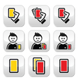 Football or soccer yellow and red card icons set vector image