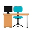 office desk work place vector image