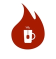 Flat paper cut style icon of hot tea cup vector image