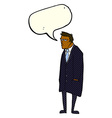 cartoon bad tempered man with speech bubble vector image
