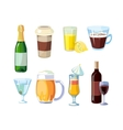 Alcohol and non alcoholic drinks with bottles vector image