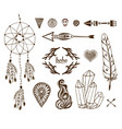 hand-drawn boho collection with arrows crystal vector image
