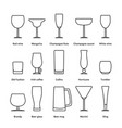 pack of different thin line stemware vector image