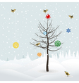 birds decorate christmas tree vector image