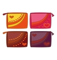 Set purses with valentine hearts vector image