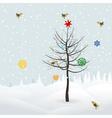 birds decorate christmas tree vector image